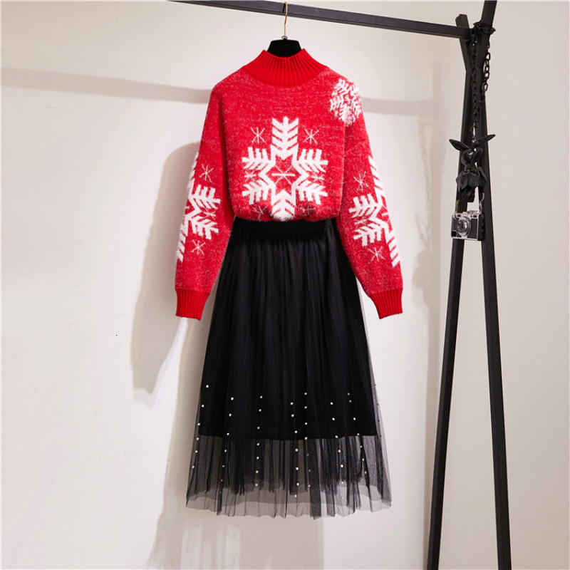 2 Pieces Set Women 2019 Autumn Winter Women Suits Long Sleeve Christmas Snow Knitted Sweater Pullover + Mesh Long Skirts Set