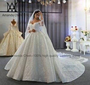 Image 4 - Abendkleid Off Shoulder koronkowa suknia ślubna z długim rękawem 2020