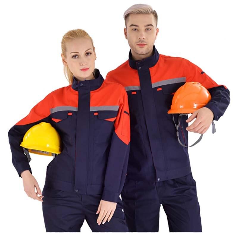 Welding Suit Working Clothes Set Men Women Long Sleeve Work Uniforms Car Workshop Contrast Color Mechanical Auto Repair Coverall