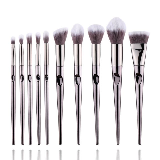 FLD 10Pcs Professional Makeup Brushes Set Kit Eyeliner Eye Shadow Face Powder Blush Brush Set Makeup Tools For Cosmetic 6