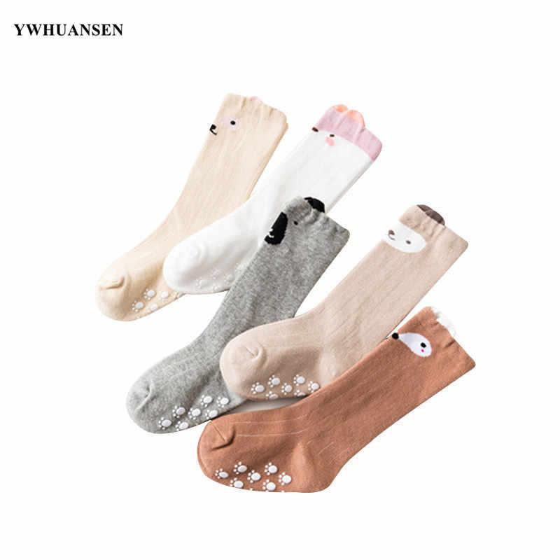 3 пар/лот, милые носки с лисой для малышей 0-24 месяцев, Нескользящие хлопковые длинные носки с захватом для новорожденных девочек и мальчиков, гольфы 2020
