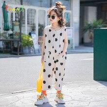 Macacão polka dot, macacão casual para meninas, verão de 2020, sem mangas, com bolso, de algodão, perna larga, para crianças, 6, 8, 10 12 anos