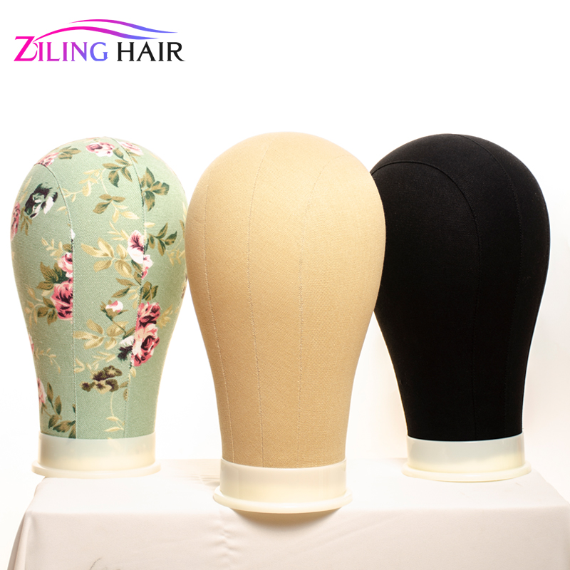 Print flower Canvas covered <font><b>block</b></font> mannequin wig stand head 22 inch average size used for wig making, <font><b>hat</b></font> stocking and display image