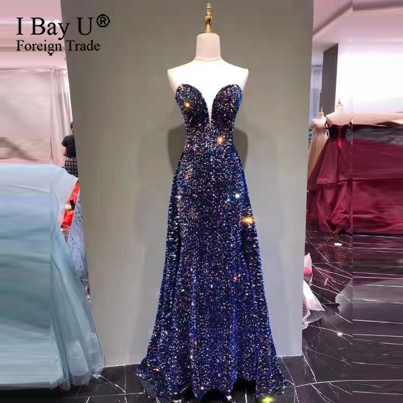 Beautiful Sequins Evening Dress Long Strapless Shining Formal Party Dress Elegant Sleeveless Plus Size Robe De Soiree 2020