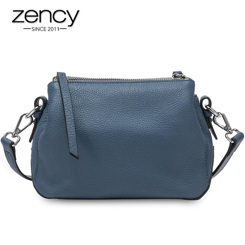 Zency Simple Style Women Shoulder Bag 100% Genuine Leather High Quality Lady Crossbody Bag Black Grey Fashion Tote Handbag
