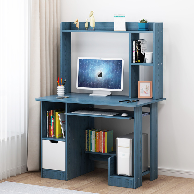 Home Desktop Computer Desk Simplicity Desk Bookcase One-piece Students Doing Homework Single Person Small Table Bedroom Office D