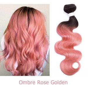 Image 4 - Bobbi Sammlung 1 Bundle Brasilianische Körper Welle Ombre Grau Rosa Rose Goldene Remy Menschenhaar Verlängerung Ombre Haarwebart Bundles