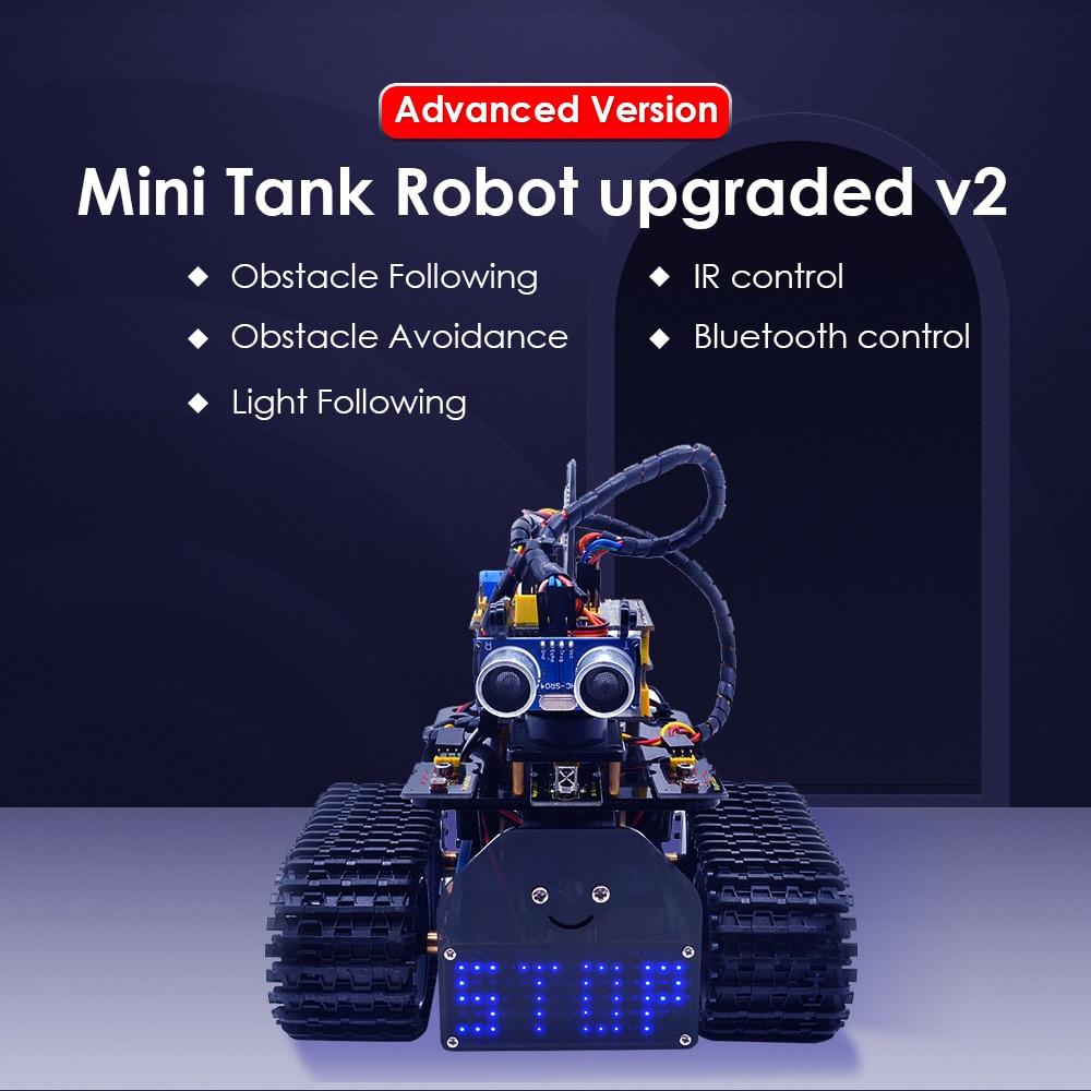 NEW!Keyestudio DIY Mini Tank V2.0 Smart Robot Car Kit For Arduino Robot STEM/ Mixly Coding/Support IOS &Android APP Control