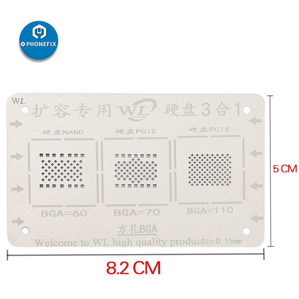 WL BGA Reballing Stencil 2 IN 1 For IPhone 5-7P NAND 3 IN 1 For IPhone 5-XSMAX 11 NAND BGA Reballing Solder Template Stencil