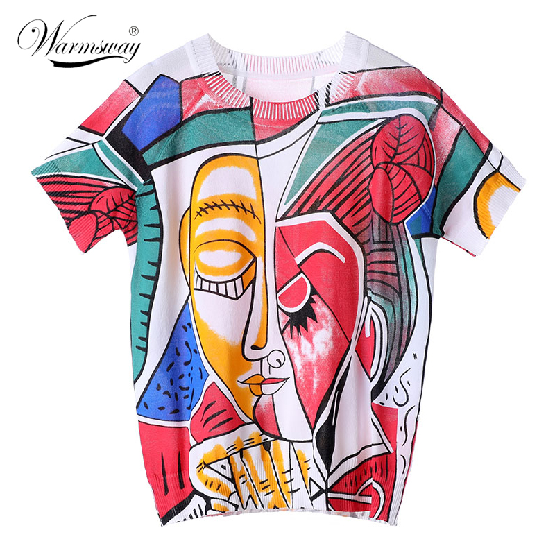 Summer Contrast Color Painting Printing Women Short Sleeve Knit Top Little Bird Print Thin Loose Sweater T-Shirt Big Size  B-151