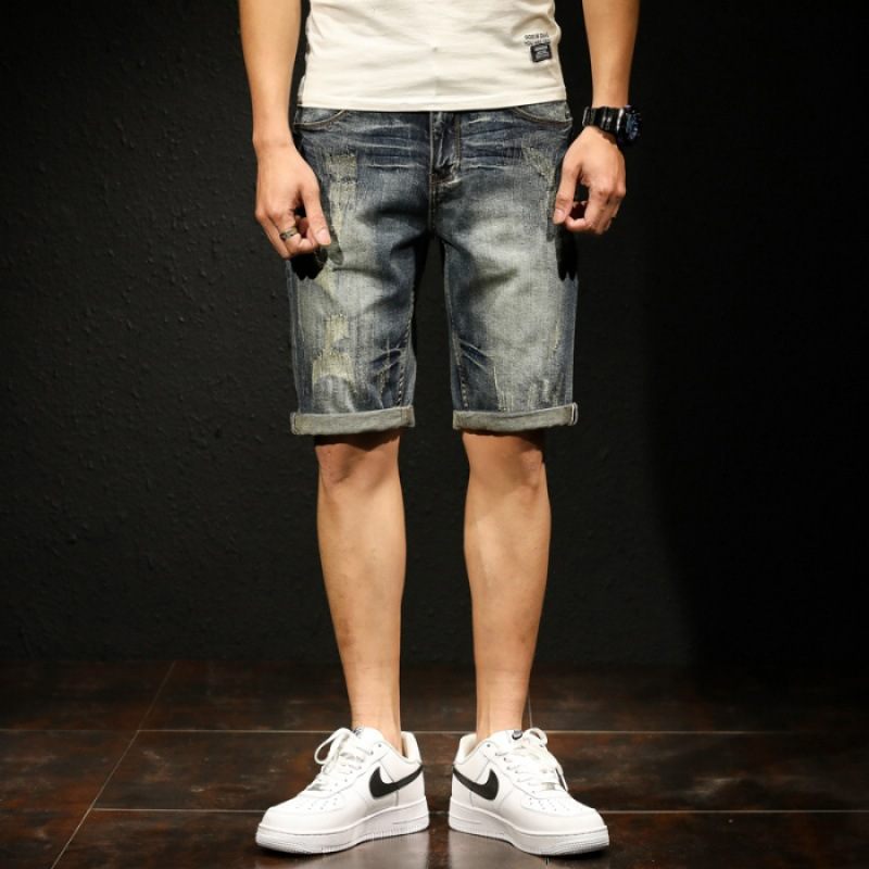 Top Grade Popular Brand Scratches Retro Denim Shorts Men's Straight-Cut Shorts Korean-style [QQ Group: 58411717