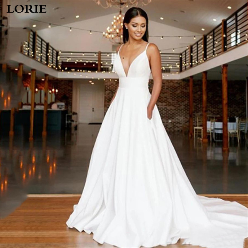 LORIE Princess Wedding Dresses Satin Spaghetti Straps Boho Bride Dresses With Pockets Lace Wedding Bride Gowns