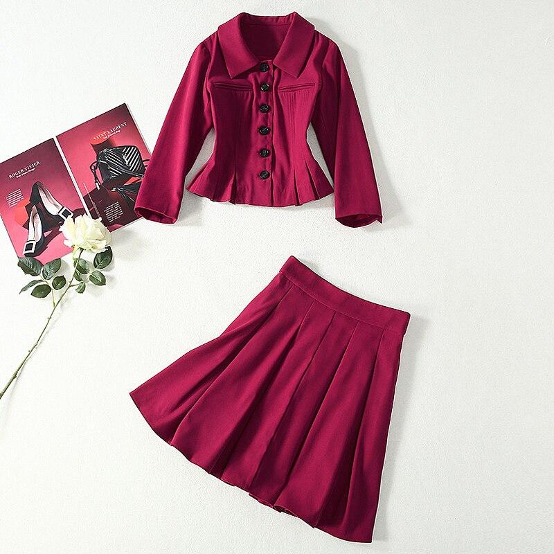 Kate middeton nueva moda de alta calidad de un solo pecho suelta media falda Vintage elegante fiesta de trabajo Casual conjuntos de mujer - 4
