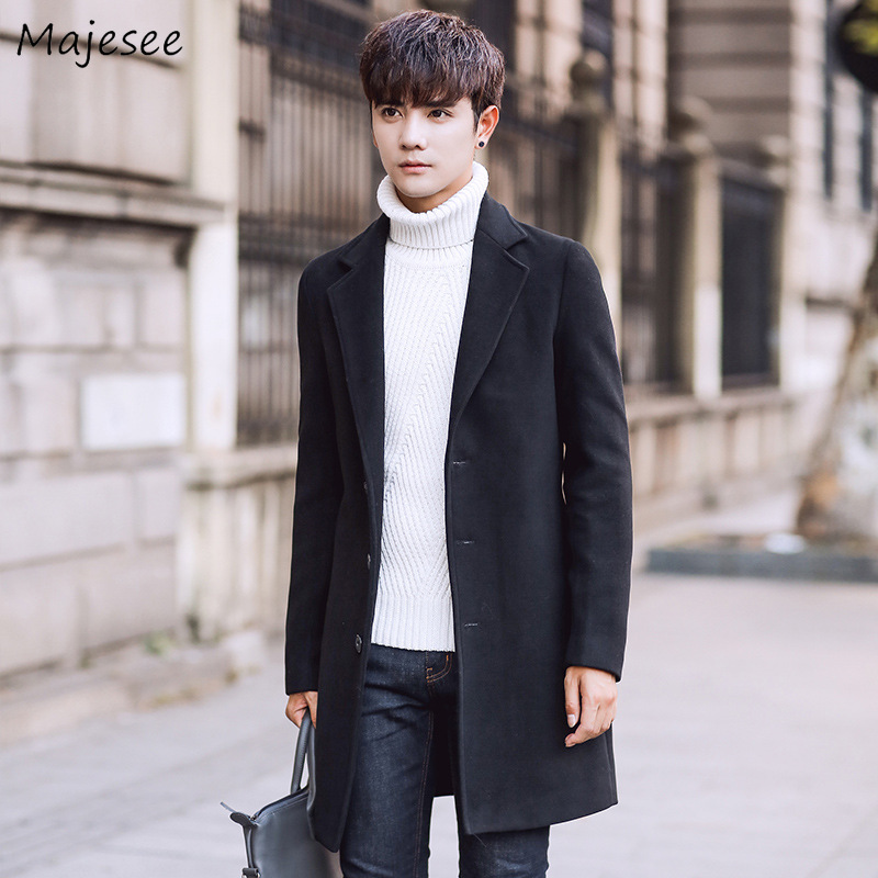 Winter Wool Men Coats Warm Solid Single Breasted Mens Trench Coat Jacket Overcoat Korean Style Plus Size Casual Males Blends