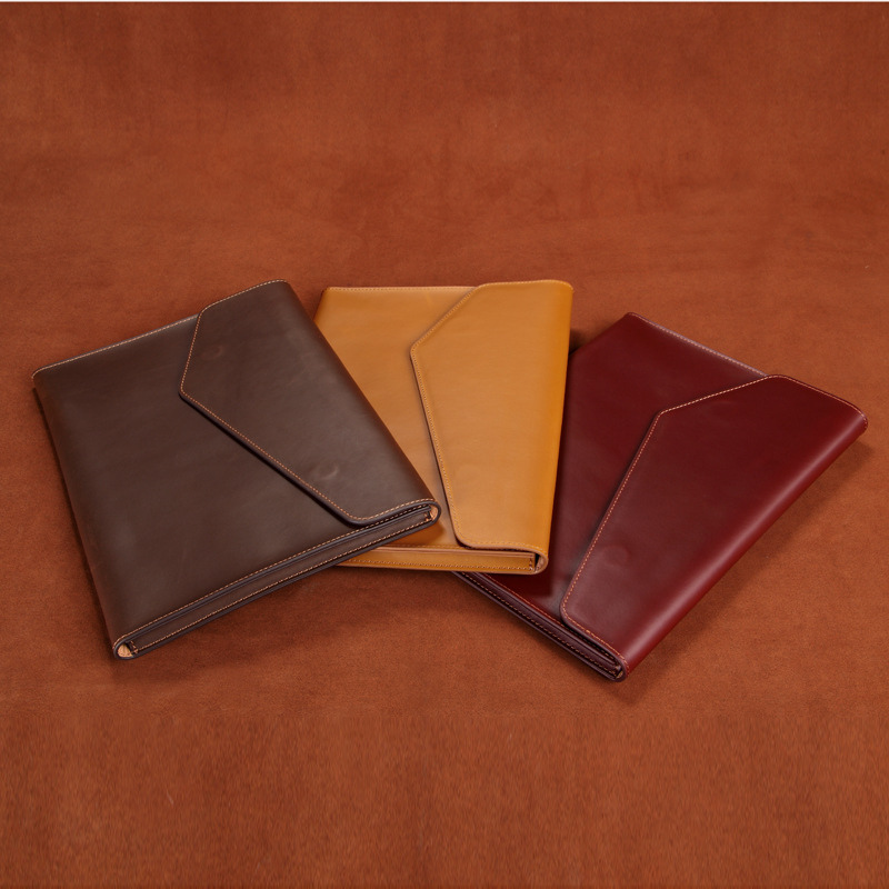 Business Bag Handbag Mens Leather Bags Genuine Leather Envelope Crazy Horse  Hand Bag Women Document Holder A4 Office Male 0022