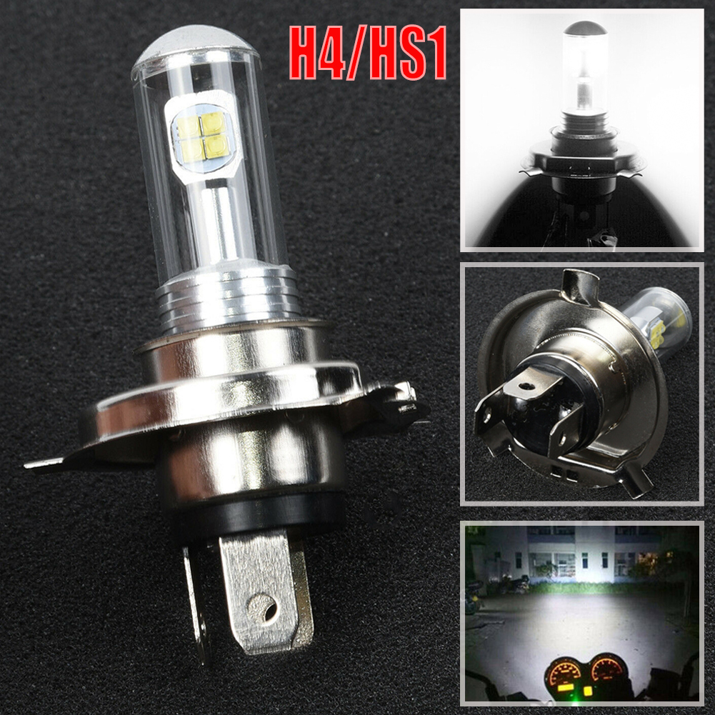 H4 / HS1 12V 40W 8-LED COB 6500K White Motorcycle Hi/Lo Beam Headlight Lamp Bulb