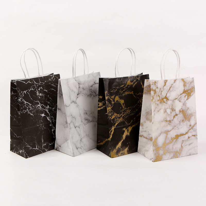 Festival Gift Paper Bag Marble Design Printing White Kraft Paper Packing Bags Twist Paper Handle