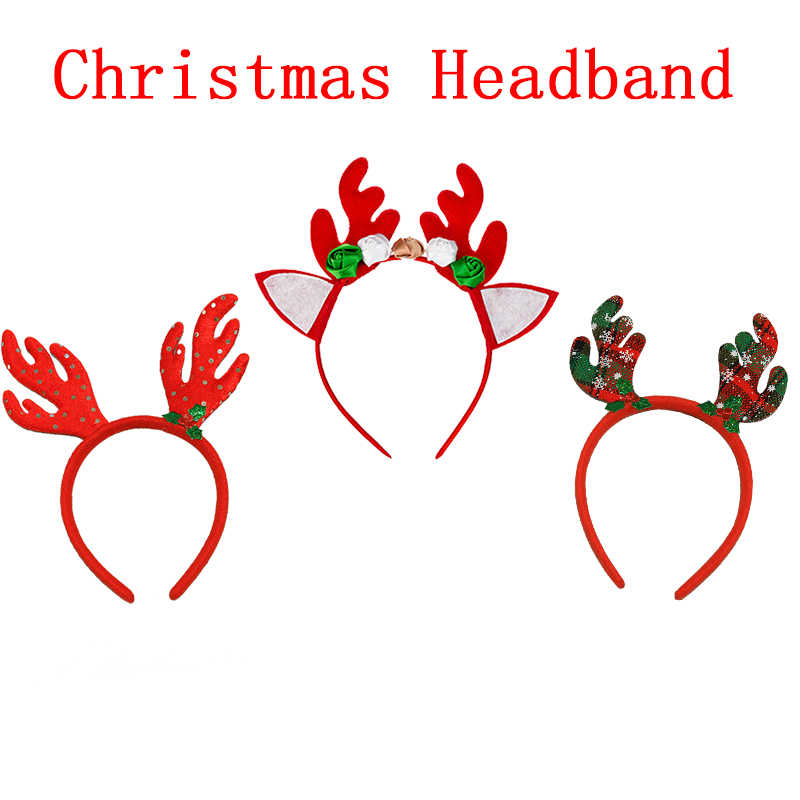 Christmas Headband Baby Girl Clothes Elk Headwear Kids Boys Clothing One Size Reindeer Headband Xmas Party Children Wear