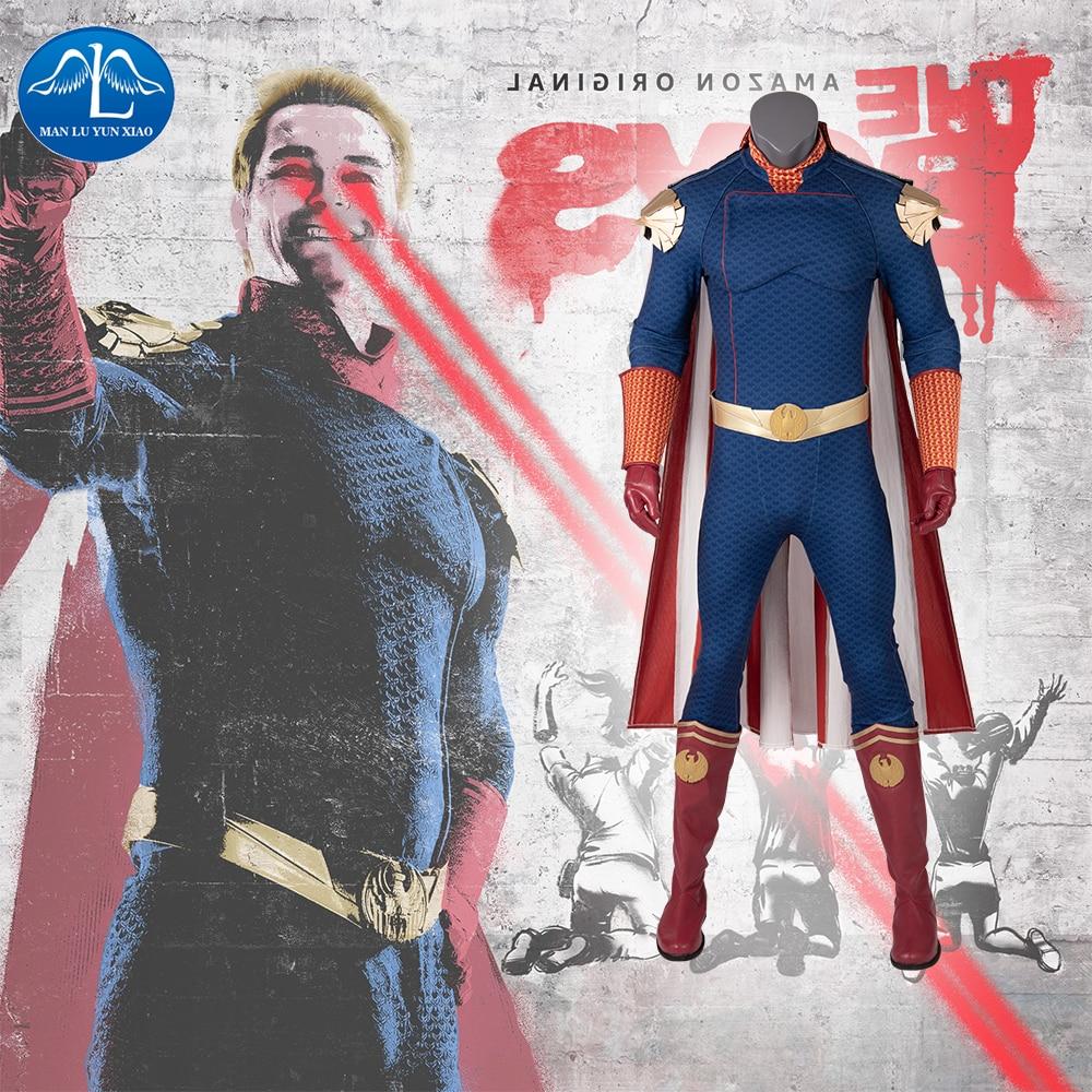 Manluyunxiao Homelander Cosplay The Boys Superhero Outfit Halloween Costume For Kids Men Adult Antony Starr Jumpsuit Custom Made
