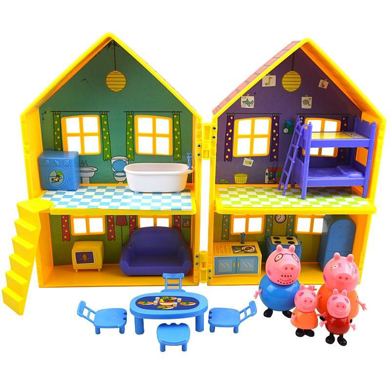 Peppa Pig House Toys George Family Duplex House Luxury Villa Move Dolls Family Set Play House Kids Toys For Children Gift