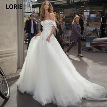 LORIE Off the Shoulder Wedding Dresses Lace Appliques Soft Tulle A-line Beach Bridal Gown Open Back Princess Marriage Gowns
