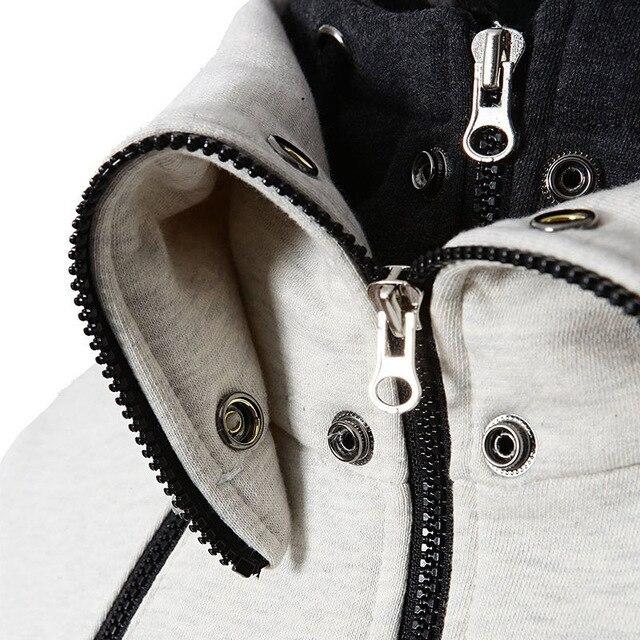 Winter Mens Plus Size Sweatshirt Jackets Autumn Casual Fleece Coats Solid Color Mens Sportswear Scarf Collar Sliming Jackets 2