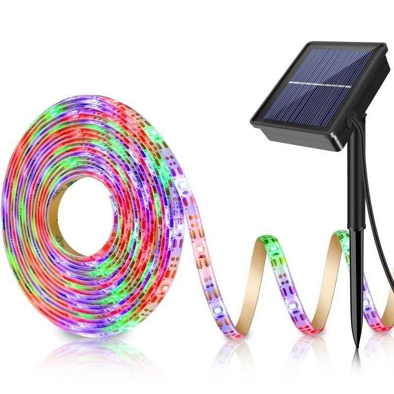5M 150LED Strip Lampu SMD2835 Fleksibel Lampu Ribbon Tape Solar Powered 8 Mode Tahan Air LED Strip Lampu Latar Lampu Taman