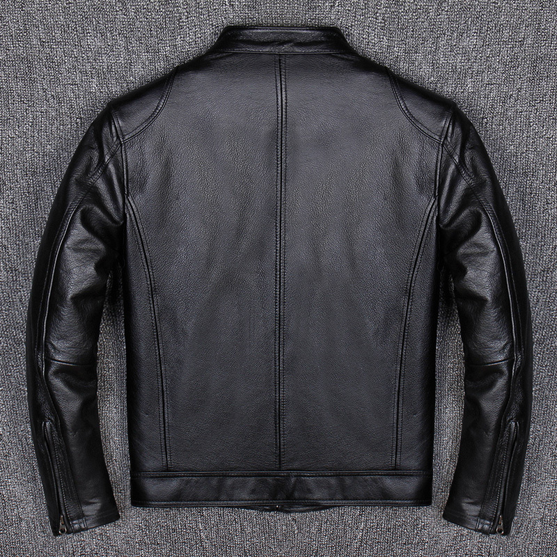 Genuine Leather Jacket Short Cow Leather Coats Men Motorcycle Jackets Casual Cowhide Chaqueta Cuero Hombre A102 KJ1455