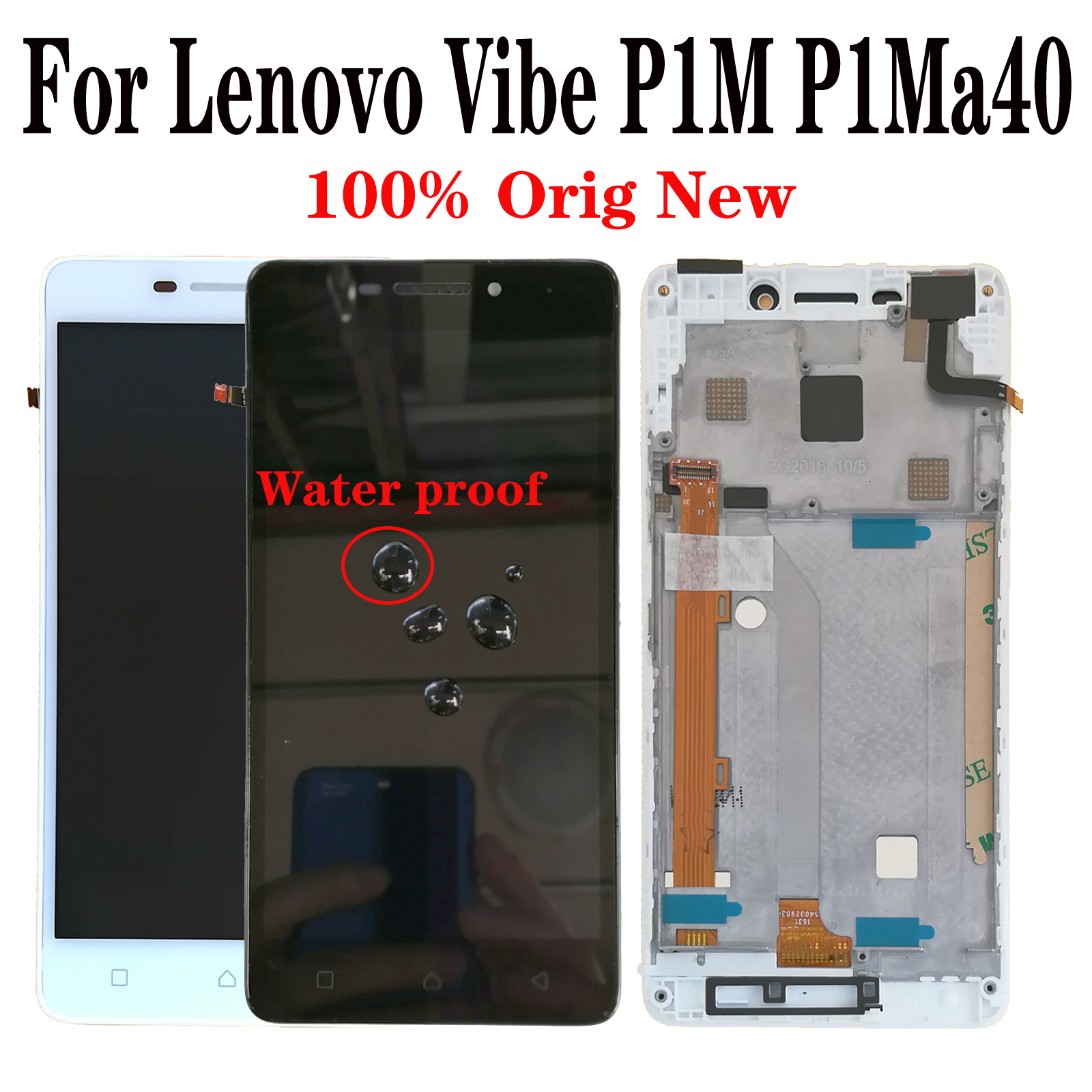 Shyueda 100% Original NEW with frame For Lenovo Vibe P1M <font><b>P1Ma40</b></font> 5.0 inch LCD Display Touch Screen Digitizer image