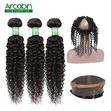 360 Lace Frontal Closure with Bundles Peruvian Kinky Curly  Human Hair Bundle Remy Aircabin