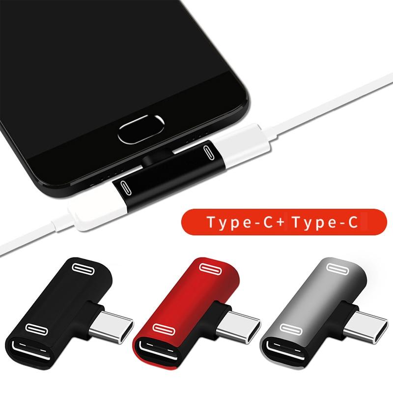 Double Type C USB-C Earphone Headphone Audio Charging Charger Adapter Splitter Convertor For Xiaomi Huawei Adapter Converter