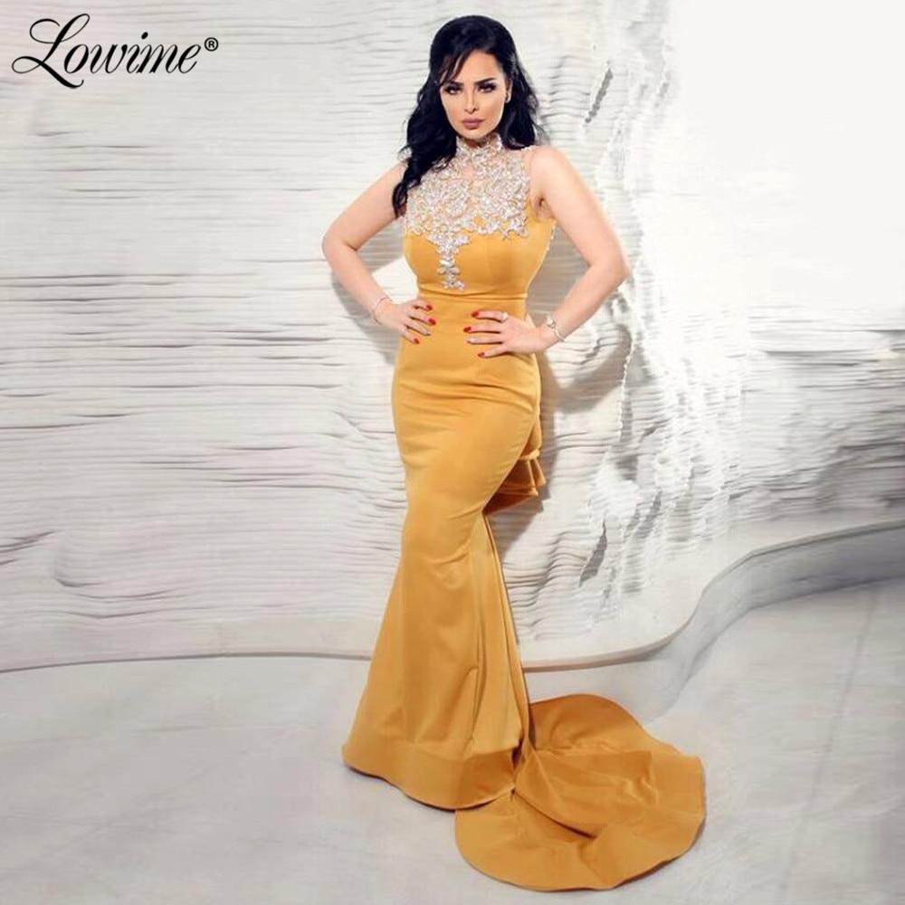 Sparkly Glitter Gold Evening Dresses 2020 Custom Formal Kaftans Dubai Islamic Mermaid Party Gowns Robe De Soiree Prom Dress