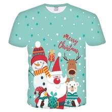 Funny T shirts Christmas T-shirts Men Xmas Tshirts Casual Santa Claus T shirt 3d Snowman Print Party Tshirt Printed Short Sleeve(China)