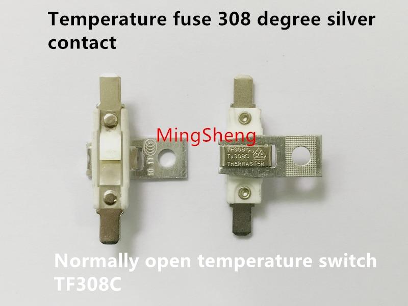 Original New 100% China Import Temperature Fuse 308 Degree Silver Contact Normally Open Temperature Switch TF308C