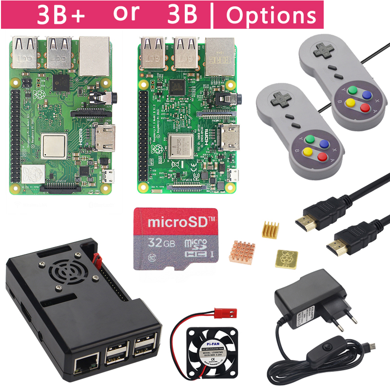 Raspberry Pi 3 Model B+ Plus Game Starter Kit +16G 32G SD Card + Gamepad + Case +Fan + Power +Heat Sink +HDMI Cable for RetroPie image