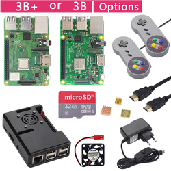 Raspberry Pi 3 Model B+ Plus Game Starter Kit +16G 32G SD Card + Gamepad + Case +Fan + Power +Heat Sink +HDMI Cable for RetroPie