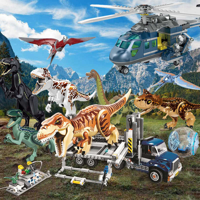 Jurassic World Indominus Rex Dino Sets 4 Park 3 Dinosaurs T-Rex Building Blocks Bricks Compatible Owen Figures Toys