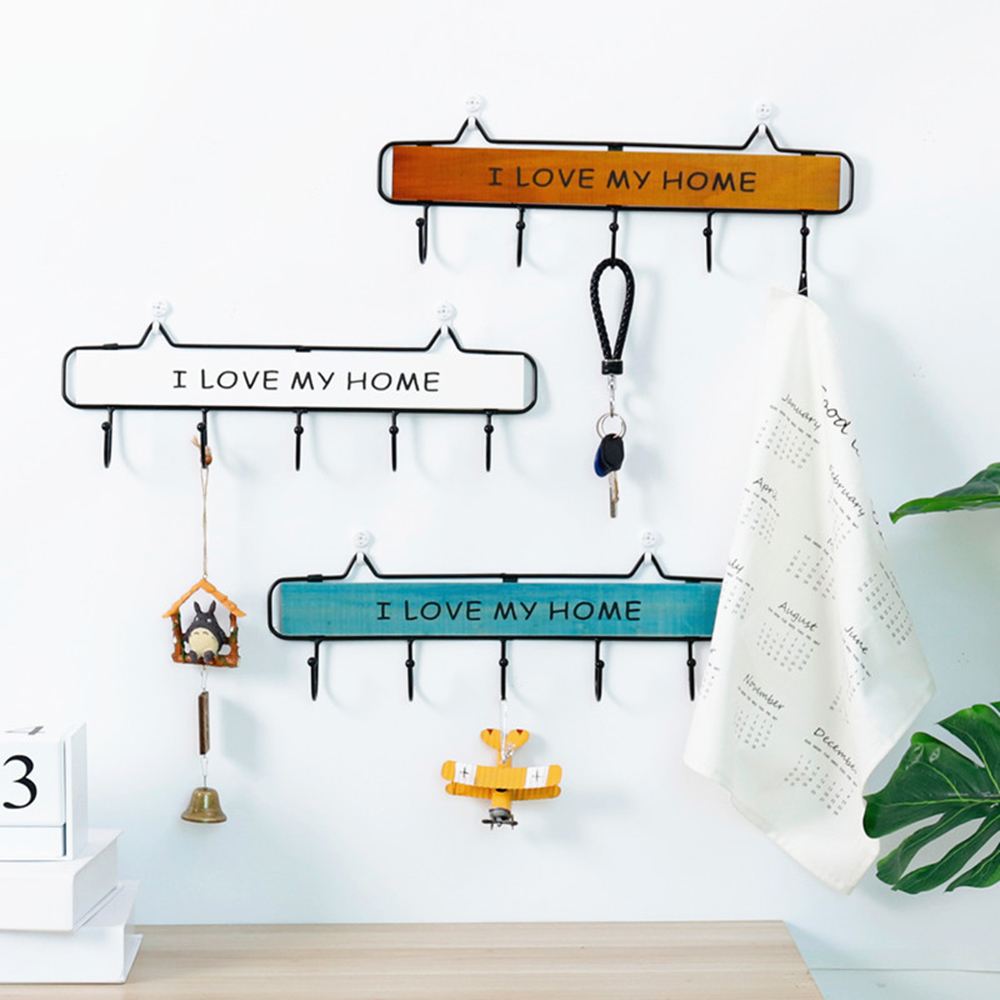1PC Wall Mounted Clothes Hanger 4/5/6 Hooks Hat Key Holder Laundry Coat Rack Hanging Storage Shelf For Home Coat Hooks Rack