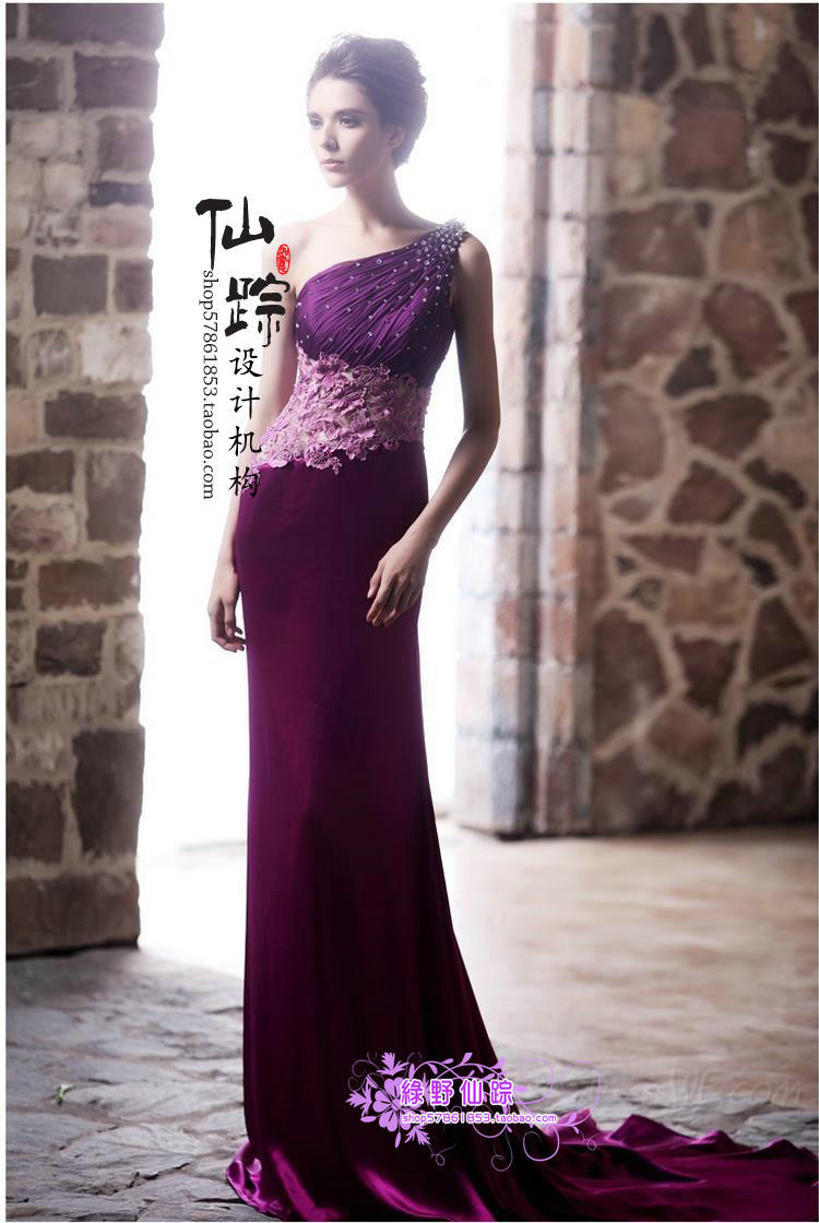 one shoulder crystal vestido de festa 2018 new fashionable sexy purple long Formal party gown free shipping bridesmaid dresses