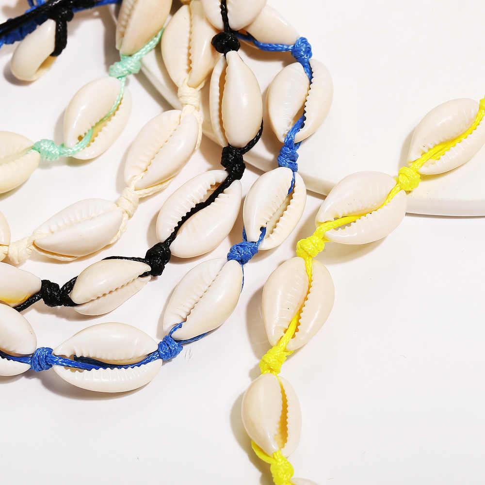 ボヘミアンスタイルナチュラル貝殻 Buzious ブレスレットビーチ人格調整可能なファッショナブルなブレスレットロープチェーンブレスレットギフト