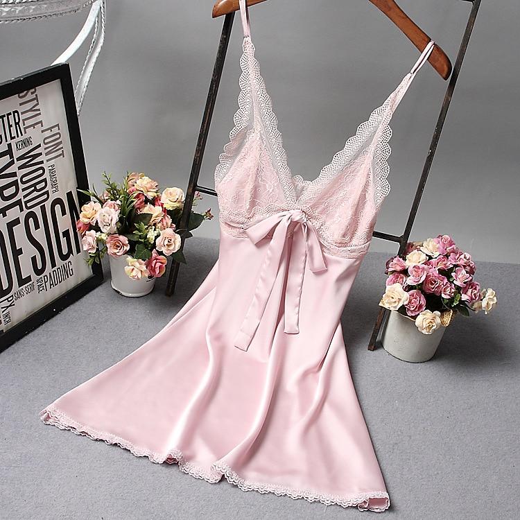 Женский пикантный Шелковый Атласный ночной халат ночная рубашка без рукавов Кружевное платье для сна Ночные сорочки с острым вырезом Ночная рубашка модная пижама ночное белье - Цвет: Розовый