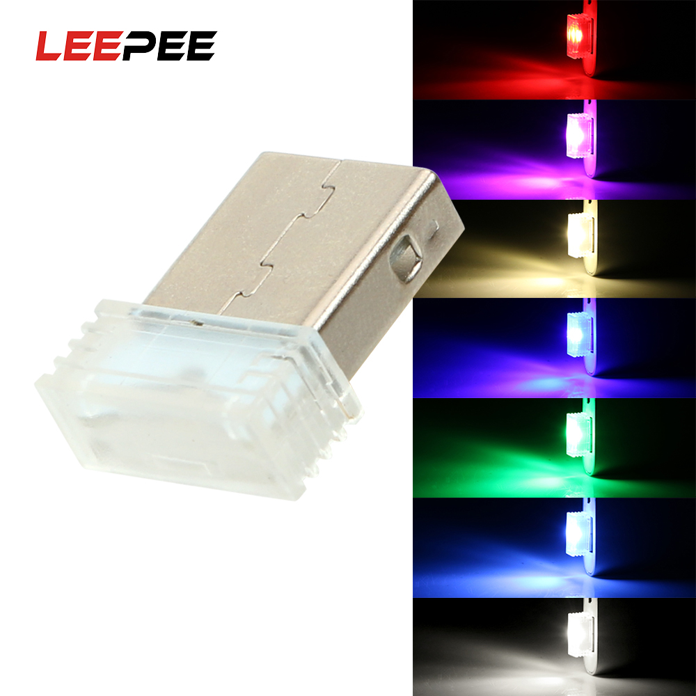 LEEPEE Mini USB Decorative Lamp Car LED Atmosphere Lights Emergency Lighting Car-styling Auto Interior Lights Ambient Lamp