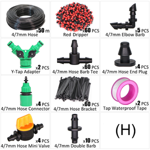 Image 5 - 5 50m Micro Drip Irrigation Watering Kit 8 Hole Adjustable Flow Dripper Atomizer Garden 4/7mm Hose Spray Misting Cooling System