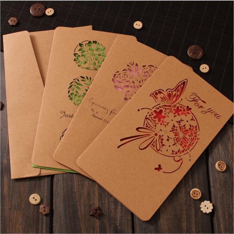 1pcs/pack 18*11CM  vintage kraft paper postcard hollow invitation gift letter paper envelope greeting card