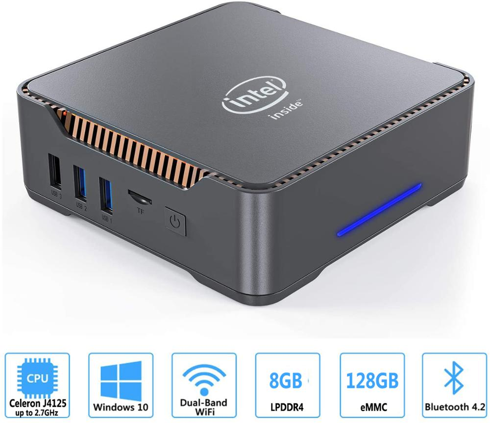 Gk3v mini pc intel celeron j4125 quad core 8gb ram 128gb windows 10 wifi duplo, 4k 60hz win10 duplo hdmi vga desktop pc htpc