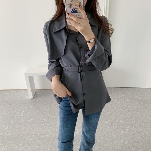 Women Loose Shirts Long Sleeve 2020 Spring Autumn Fashion Casual Chiffon Shirt Female Streetwear Vintage Blouse Tops Lace Up 3