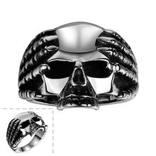 GOMAYA Hot Fashion Retro Skull Mens Jewelry Rings Unique Design Punk Stainless Steel Skeleton