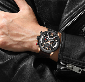 Image 5 - CURREN Relógio Mens Relógios Top Marca de Luxo Cronógrafo Dos Homens Do Esporte Dos Homens Casuais de Couro À Prova D Água Relógio de Quartzo Relogio masculino
