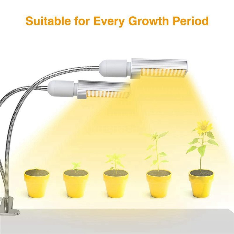 CLAITE 45W Full Spectrum 88 LED Plant Flexible Grow Light Dual Head Clip Gooseneck Lamp For Indoor Seedling Blooming Fruiting