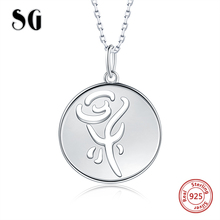SG 925 sterling silver rose necklace flower with Fashion round pendant for women jewely gifts 2019 new arrival